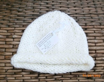 Knitted Hat Infant 0 to 3 months Light Yellow