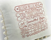 Walking in a Winter Wonderland Embroidered Linen Christmas Pillow Cover