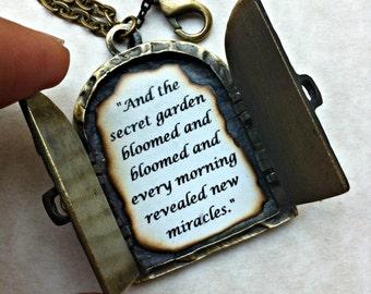 Friendship Necklace, Personalized Necklace, Antique Locket Necklace, Friendship Quote, Secret Garden Necklace, Secret Door Locket Necklace