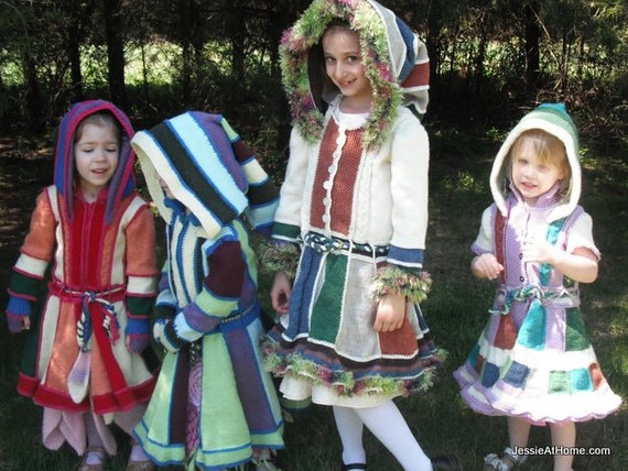 Kat - a lovely faerie frock with many variations in child sizes 3-12 Pixie Coat - PDF Knit PATTERN ONLY