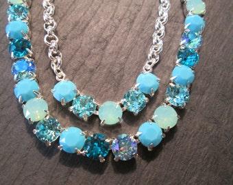 Turquoise Swarovski Crystal Necklace/ Statement Necklace/ Tennis Necklace/ Bridesmaid Jewelry/ Swarovski Necklace/ Bridal