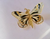 Vintage Butterfly Brooch, Moveable Wings, Enamel