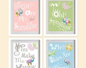 ON SALE You Are My Sunshine Nursery Art Print - Pistachio green, Pink, Sky Blue,Colorful Plant, Elephant, Snail  - Set of 4 - 8X10 - No. P03
