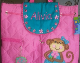 Backpack, toddler, Monkey,  Stephen Joseph, includes personalization, girl daycare bag