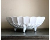 Vintage white milk glass bowl / vintage milk glass serving bowl / vintage harvest grape pattern / vintage wedding / cottage chick