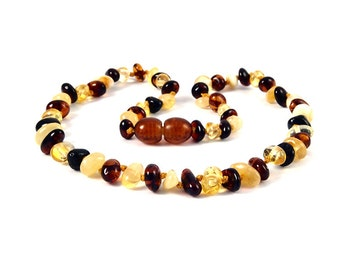 Genuine Baltic Amber Baby Teething Necklace Multi color Rounded