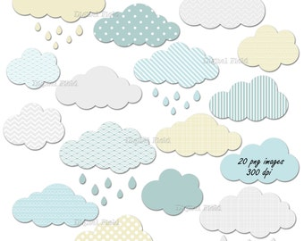 Cloud clip art set - printable digital clipart in grey, blue, green and yellow - instant download