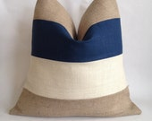 Blue Linen/Cotton, Cream and Natural Burlap Multi Stripe Pillow Cover