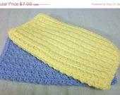 Crochet Cotton Washcloth Wash Cloth Set of 2 - Cornflower Blue & Yellow