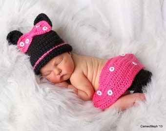 little mouse inspired hat and diaper cover set, photo prop,