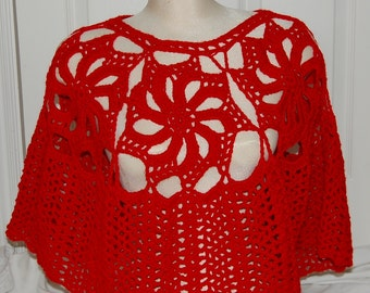 50% Off Sale - Crochet Poppy/Cherry/Crimson Red Flower Lacey Flower Poncho - Ready to Ship