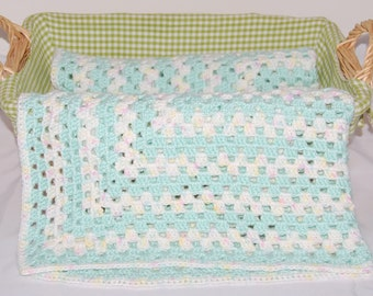 Crochet Granny Square Blanket for Baby in Green and White - Ready to Ship