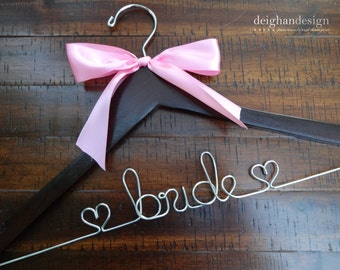 Wedding Dress Hanger with Satin Bow, Bride Hanger, Wedding Hanger, Mrs Hanger, Wedding Hanger, Name Hanger, Bride Shower Gift, Engagement