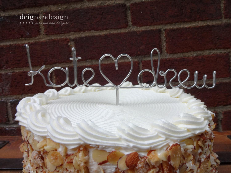 Weddingwire Custom Cake Design : Custom Cake Topper Wedding Cake Topper Wire Names by ...