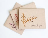 Thank You Card Set (10): Laser Cut Leaves--Custom Color--Custom Text
