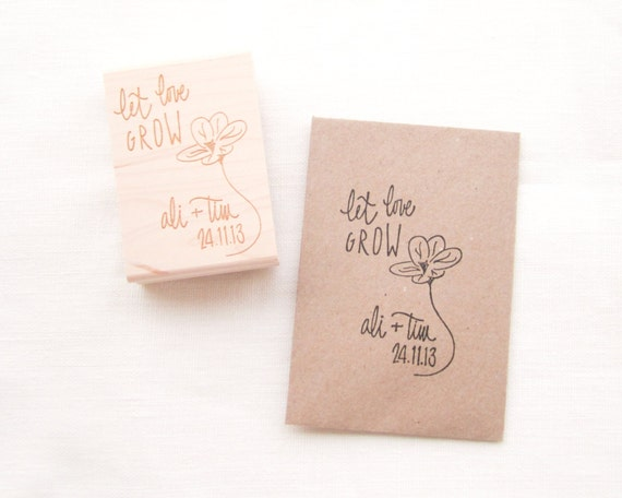 Items Similar To Custom Let Love Grow Wedding Favor Stamp