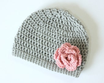Baby Girl Hat, Crochet Flower Hat, Gray Hat with Pink Flower