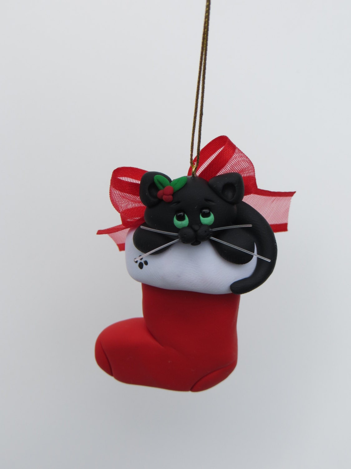 Black Cat Christmas Ornament Polymer Clay Cute by ...