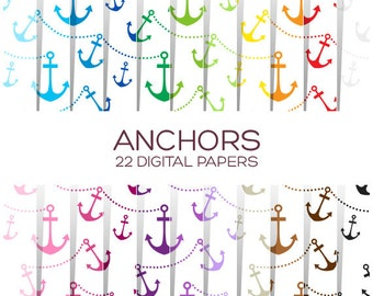 Anchor Digital Paper Pack - Scrapbook Printable Background - Rainbow High Resolution Paper - P00097