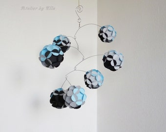 Hanging Mobile , Kinetic , Baby blue black and grey Mobiles , Nursery Room Decor , Home Decoration , Mobiles for Boys