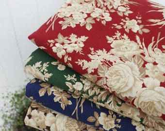 Cotton Fabric French Roses - Blue, Red, Green or Brown - By the Yard 39046