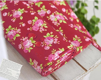 Waterproof Fabric Pink Roses on Dark Red - By the Yard 46692 - GJ