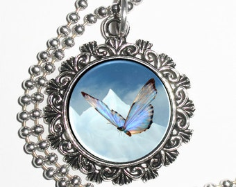Blue Butterfly Art Pendant, Butterfly Resin Pendant, Butterfly Photo Charm Necklace