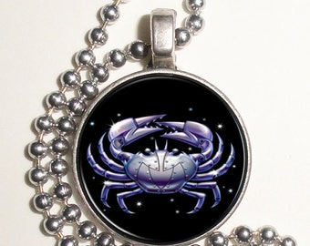 Cancer Zodiac Horoscope Altered Art Photo Pendant, Keychain and/or Earrings, Round, Silver and Resin Charm Jewelry