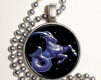 Capricorn Zodiac Horoscope Altered Art Photo Pendant, Keychain and/or Earrings, Round, Silver and Resin Charm Jewelry