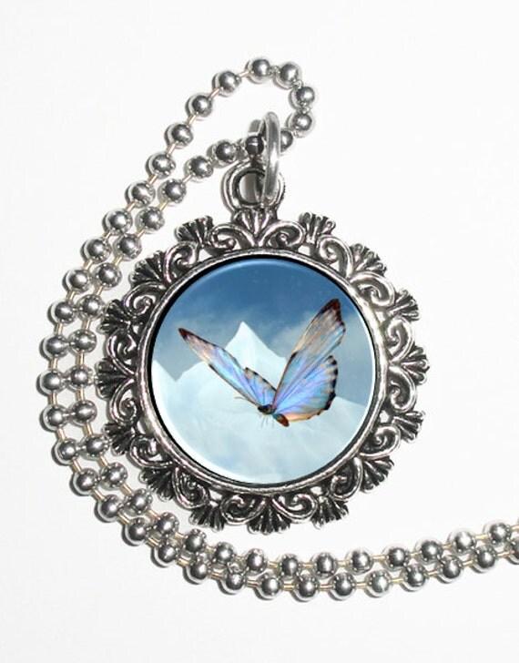 Blue Butterfly Art Pendant, Butterfly Resin Pendant, Butterfly Photo Charm Necklace