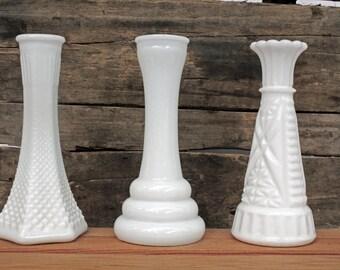 Vintage Milk Glass Vases