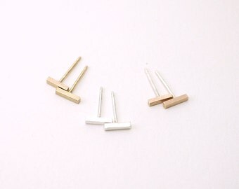 Tiny bar post earrings - silver / gold / rose pink - minimal line studs - dainty delicate illusy