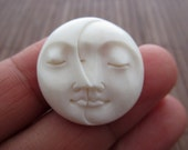 Amazing Detail 25mm Embellishment, Carved bone , moon  phase with closed eye, Jewelry making Supplies B4040