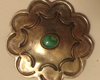 Vintage Native American Hand Made Sterling Silver Concho Brooch