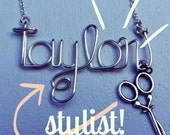 Stylist, hairstylist, cosmetology name necklace