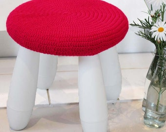 IKEA cover - pink crochet stool cover - bright pink