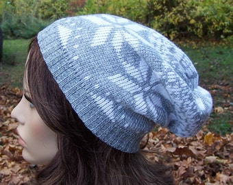 Handmade slouch beanie Fair Isle slouchy ski hat recycled light grey sweater upcycled eco clothing accessories men women unisex