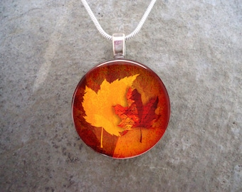 Autumn Jewelry - Glass Pendant Necklace - Fall - Autumn Leaves 12