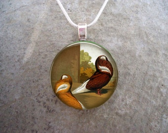 Bird Jewelry - Glass Pendant Necklace - Victorian Bird 40