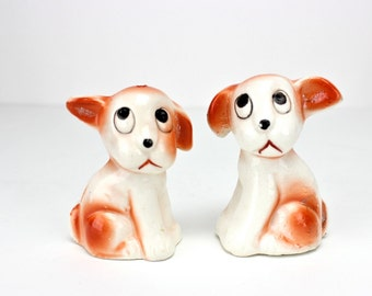 Vintage Dog Salt and Pepper Shakers, 1930s Sad Eyed Puppies, Anthropomorphic, Brown White Dogs, Big Eyes, Dog Figurines, Japan, Epsteam