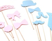 Photo Props: Gender Reveal Party Set -10 Pcs - baby shower party die cut bow tie mustaches stick photo booth prop