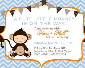 Monkey Baby Shower Invitation Boy Invitation Monkey Shower Invitations Printable Invitation Printable Baby Shower Invitations Monkey
