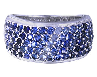 5 Rows Multicolor Graduating Blue Sapphire Ombre Ring 925 Sterling Silver Ring - 1835 - 5 rows