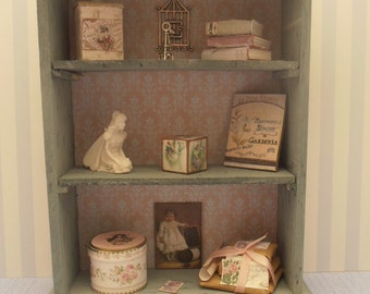 Gaël Miniature shabby chic Furniture - cabinet   for French dollhouse in 1:12 scale