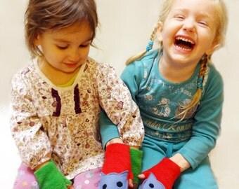 Personalized Glittens for Children. Convertible Mittens Fingerless Gloves