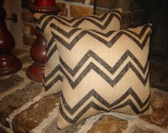 """Burlap """"CHEVRON"""" Pillows"""