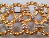 Vintage BROOCH Gold Plate and Rhinestone Accents Stunning Statement Piece