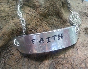 Hand Stamped Faith and druzy bracelet