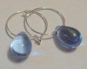 Silver Hoop Earrings, Glass Bead Earrings, Pink Earrings, Blue Earrings, Clear Earrings