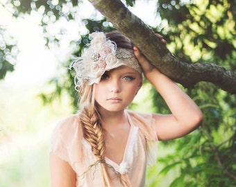 Vintage Cream Ivory and Baby Pink Silk Handrolled Rosette Bow Thick LACE Headband Curly ostrich feathers, veiling, pearls and crystal